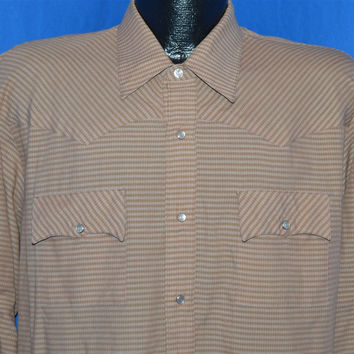 80s Stable Gear Brown Plaid Pearl Snap Shirt Extra Large