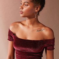 UO Off-The-Shoulder Smocked Velvet Top | Urban Outfitters