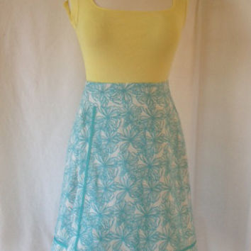 Customizable Linen Blend Wrap A-Line Skirt -- White with Blue Abstract Flowers -- Hook and Eye Closure