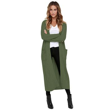 Army Green Cable Knit Long Cardigan