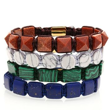 Geometric Stone Braided Rope Bracelet
