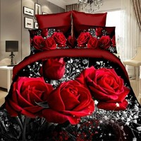 Duvet Cover Set,3D Oil Painting Bed in a Bag 3pcs Bedding Sets Queen Size red rose  Comforter Bag Duvet Cover
