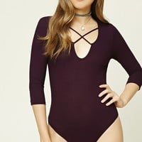 Ribbed Strappy-Front Bodysuit
