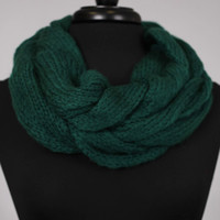 Braided Knit Scarf, green