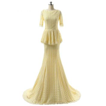 New Arrival Prom Dresses Scoop Yellow Lace Half Sleeves Mermaid Long Floor Length Prom Dress