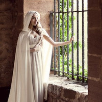 White bridal cloak white ivory satin cape with by CostureroReal