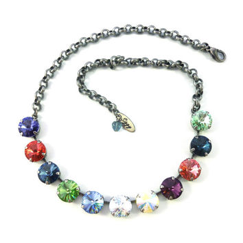 FIREWORKS SPLENDOR Swarovski crystal 12mm rivoli necklace, bright and colorful, Siggy necklace