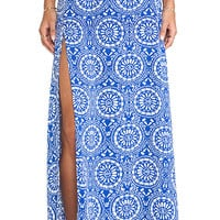 Show Me Your Mumu Mick Slit Maxi Skirt in Blue