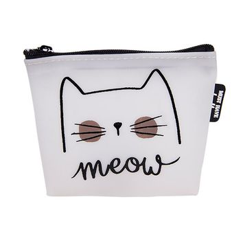 Women Girls Cute Cat Printed Coin Purse Fashion Snacks Coin Purses Wallet Bag Silicone Zipper Small Change Pouch Key Holder Bags