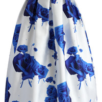 Blue Roses Printed Midi Skirt Multi