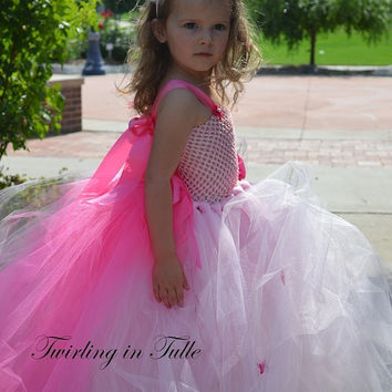 Flower Girl Dress Soft Pink Tulle Flower Girl Dress with Train Size 2 -4T