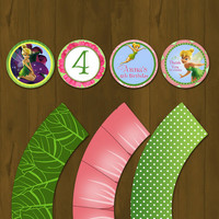 Tinkerbell Printable Cupcake Toppers with Wrappers - Tinkerbell Party Circles with Wrappers Pink and Green
