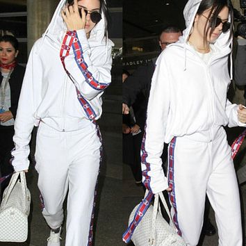Champion Casual Pullover Hoodie Sweater Pants Trousers Set Two-Piece White