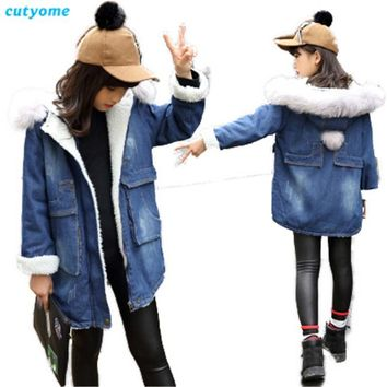 Trendy Cutyome Kids Denim Winter Jackets for Girls 2017 Long Sleeve Hooded Thicken Outerwear Coats Teenage Girls Warm Jacket and Coats AT_94_13