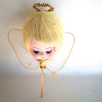 Vintage Angel Head On A Stick Holiday Christmas She Measures 7 Inches Tall  X  5 Inches Wide AS IS Because Of Small Glue Spot