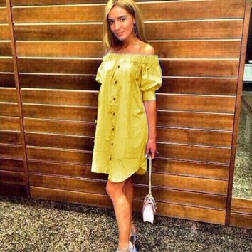 Women 2016 Summer Fashion Sexy Off Shoulder Party Dresses Casual Beach Yellow&blue&pink Dress