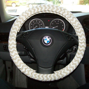 White and Khaki Chevron Steering Wheel Cover