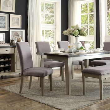 6 pc Mendel collection grey finish wood and marble top dining table set with upholstered seats