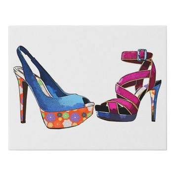 Blue and Pink Womens High heels Shoe ARt Faux Canvas Print
