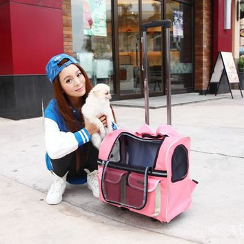 Portable  Pet dog Trolley bag dog luggage stroller carrier bag with wheel small  Puppy Dog Cat Travel tote bag backpack air box