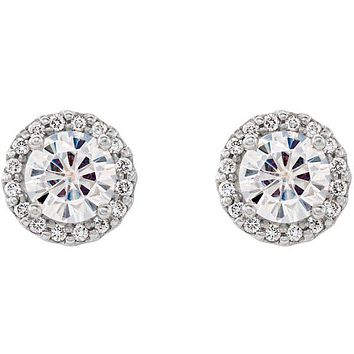 Moissanite & Diamond Halo Stud Earrings