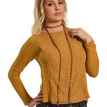 Jolt Women's Mustard Lace Overlay Top