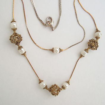 Two-Strand Pearl Necklace Ornate Openwork Beads Vintage Wedding Jewelry