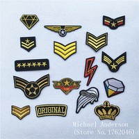 1Pc Military Rank Diamond Iron On Patches Embroidered Applique for Jacket Army Badge Patches Clothes Stickers Diy Accessories