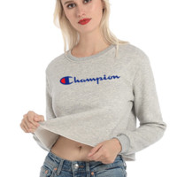 Champion Autumn And Winter New Fashion Bust Embroidery Letter Long Sleeve Short Sweater Top Women Gray