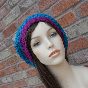 Womens Slouch Beanies Blue and Purple Hat Crochet Beanie Oversized Beanie Teen Hats Colorful Hat