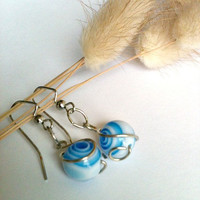 Blue and White Spiral Swirl Earrings With Handwrapped Silver Wire