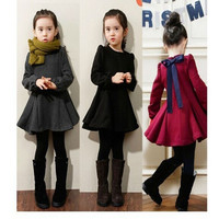 2-7Y Child Kids Girl Long Sleeve Dress Flare Skirt Casual Cotton Dress Clothes