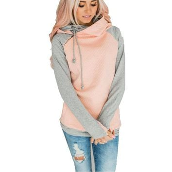 DD Women's Grey and Pink or Teal Pull Over Hoodie