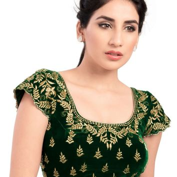 Elegant Green Velvet Ready-made Indian Saree Blouse - KP-46