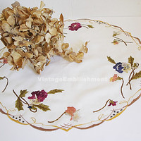 Antique Silk Embroidered Pansies Pansy Vintage Society Silk Doily Table Topper
