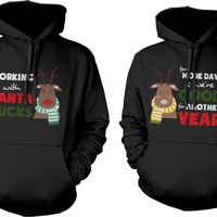 Funny Mr and Mrs Rudolph Matching Couple Hoodies