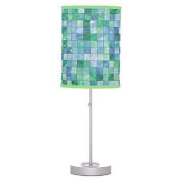 Shiny Blue Green Faux Glass Block Tile Mosaic Table Lamp