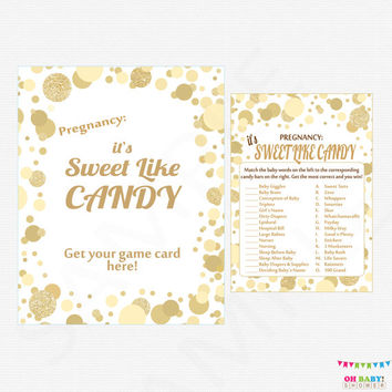 How Sweet It Is Baby Shower Game, It's Sweet Like Candy Game + Sign, Printable Baby Shower Game, Guessing Game Girl Boy Baby Shower CB0003-g