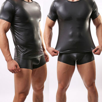 Good Quality Man Leather Like Tight Dancer Suit Man Sexy Yoga Suit Wrestling singlet Mens Body Building Gym Bodywear