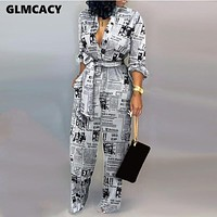 Women Jumpsuit Ladies Jumpsuits Party Long Pants Long Sleeve Jumpsuit Skinny Newspaper Print Outfits