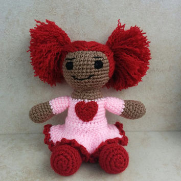 African American Valentine Doll. African American Doll. Valentine Doll. Crochet Doll. Handmade Valentine Gift. Valentine for Girl.
