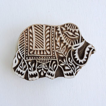 Indian Elephant Stamp, Hand Carved Printing Block, Wooden Block Stamp, Textile Stamp, Ceramics Pottery Stamp, Lucky Feng Shui Symbol