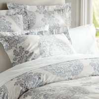 Lucianna Medallion Duvet Cover & Sham - Gray | Pottery Barn