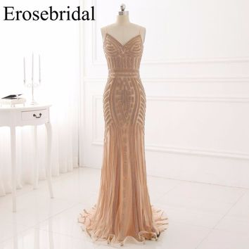 Long Prom Dresses Erosebridal Mermaid Formal Women Evening Party Gowns Sexy V Neck Zipper Back Vestido De Festa Custom Made