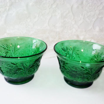 "Anchor Hocking Forest Green Glass Custard Cups Sandwich Pattern 2 Cup Set Sherbet Desert Bowls Depression Glass Replacements Estate 2-3/8""H"