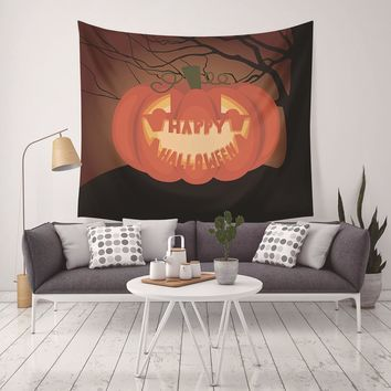 130*150cm Halloween Tapestry Home Decor Cat Bat Pumpkin Tapestry Hanging Tapestry Living Room Wall Decoration