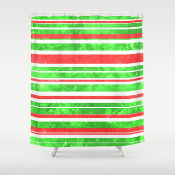 Sun Kissed Stripes: Red and Green Shower Curtain by Kat Mun | Society6