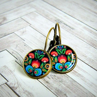Nadia colorful resin photo cabochon earrings, lever back, brass, black colorful, floral