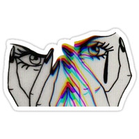 'Trippy Crying Girl ' Sticker by Drew Smith