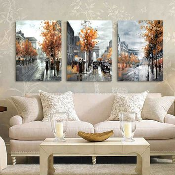 3 Panel Wall Art Painting Home Decor Landscape City Street Wall Pictures Print on Canvas Wall Decor Canvas Painting HY44